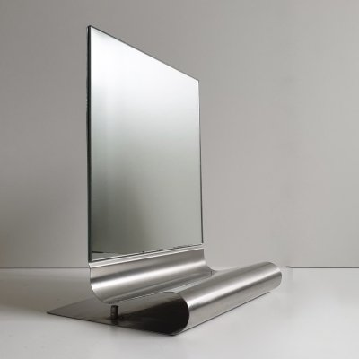 Postmodern Stainless Steel Cantilever Table Mirror from Habitat, c.1990