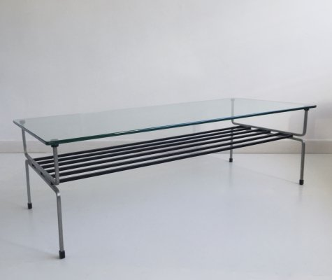 Mid Century Glass & Steel Coffee Table by William Plunkett, England, c.1960