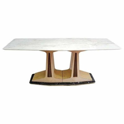 Midcentury Dining Table in Parchment with Marble Top & Base from Cantú, Italy