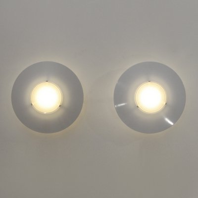 Pair of round wall or ceiling lamps by Egoluce, 1980s