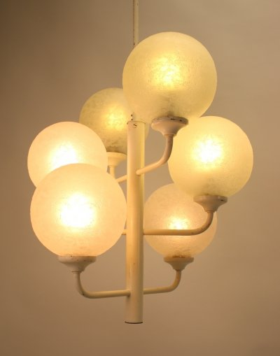 White pendant lamp with white bulbs, 1960s