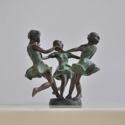 Elegant 1960s bronze sculpture 'May dance' designed by Karl Tutter