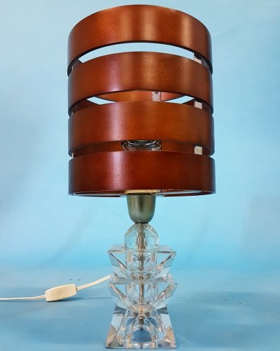Solid glass prism table lamp with plywood shade, 1970s