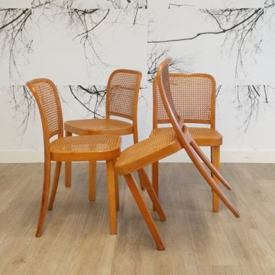 Set of 4 Prague or No. 811 Chairs by Josef Hoffmann for Thonet, 1940s