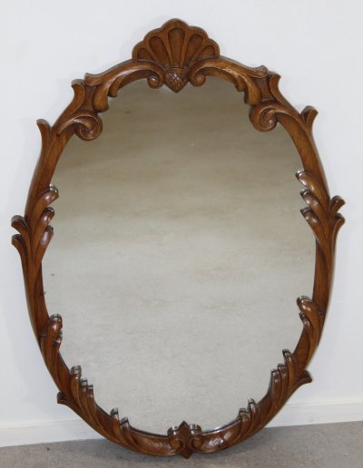 Oval oak wooden mirror, 1960s
