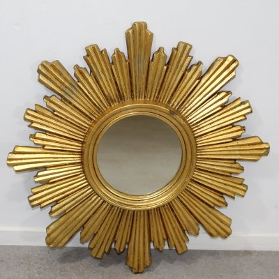 French Mirror in plaster & Gold Leaf, 1960s
