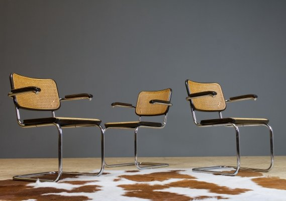 Thonet S46 Cantilever Marcel Breuer Dining Chair in Cane & Chrome, 1979