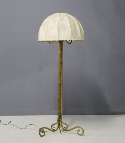 Floor Lamp Midcentury by Marc du Plantier in Brass & Parchment, 1950s