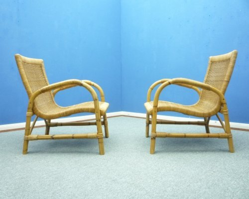 Pair of Rattan & Bamboo Armchairs from Arco, 1940s