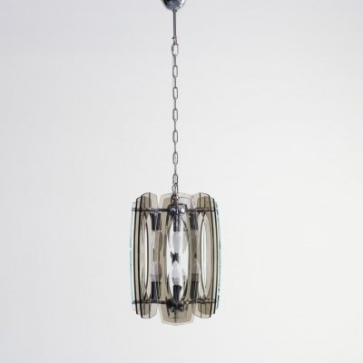 70s hanging lamp with plexiglass & chrome plated metal