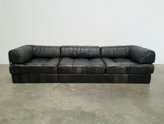 De Sede DS-88 patchwork black leather sofa, 1970s