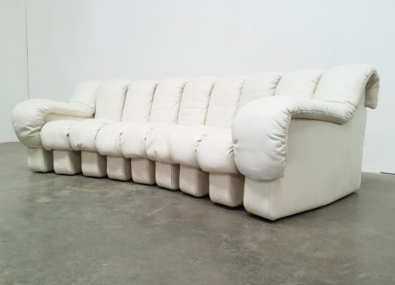 De Sede DS600 off white leather sofa, 1970s