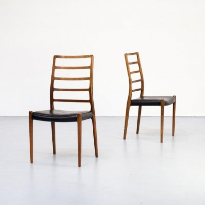 Pair of Niels Otto Moller 'model 82' dining chair for J.L. Møllers Møbelfabrik, 1970s