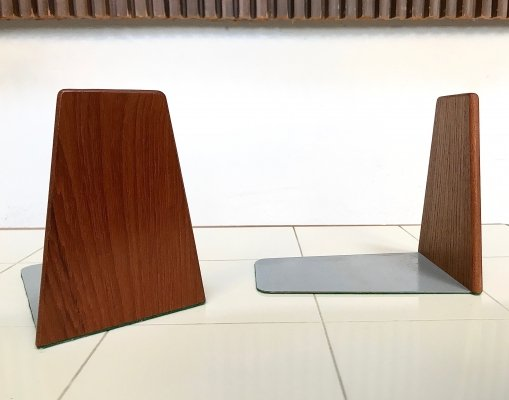 Pair of Danish Modern Teak & Metal Bookends, 1960s