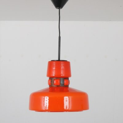 1960s Orange glass hanging lamp