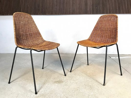 Pair of Basket Side Chairs by Gian Franco Legler, 1950s