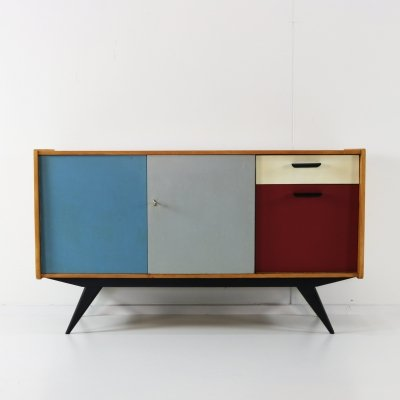 Colored fifties Dutch design sideboard