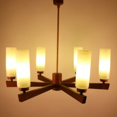 Scandinavian Teak hanging lamp with 6 light points
