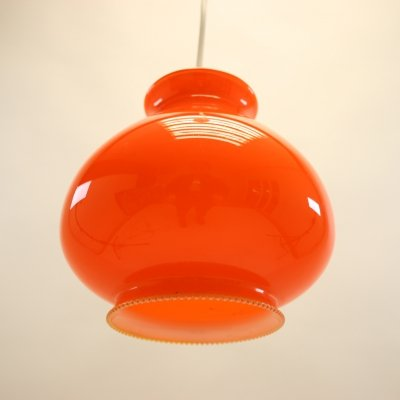 French orange hanging lamp, 1960s
