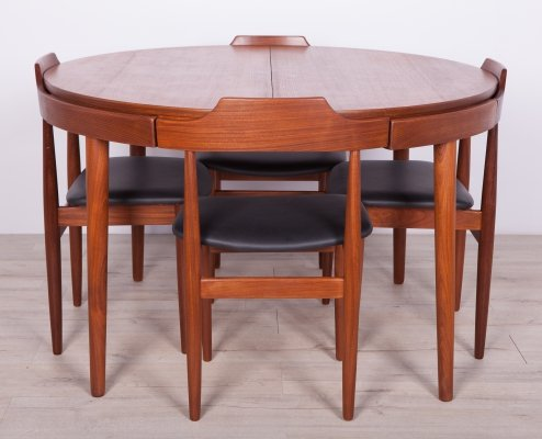 Mid Century Teak Dining Table & 4 Chairs by Hans Olsen for Frem Røjle, 1960s