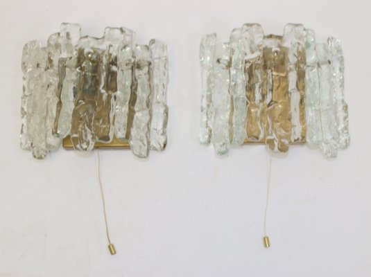 Pair of Ice Glass Wall lamps by J.T. Kalmar, Austria 1970s