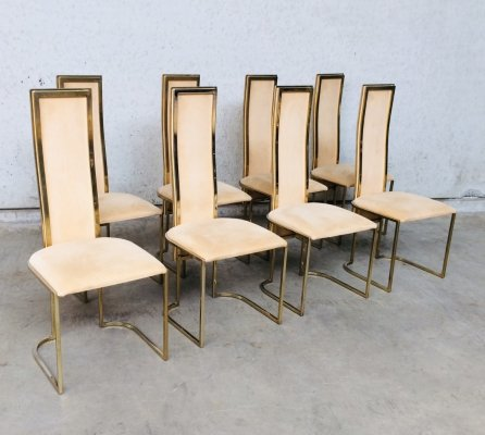 Hollywood Regency Design set of 8 Dining Chairs by Belgo Chrom, 1970's