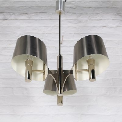 Brushed steel ceiling lamp, 1970s