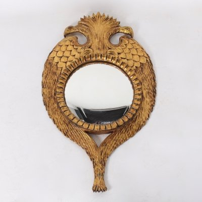 Eagle two-headed gilt wood convex mirror