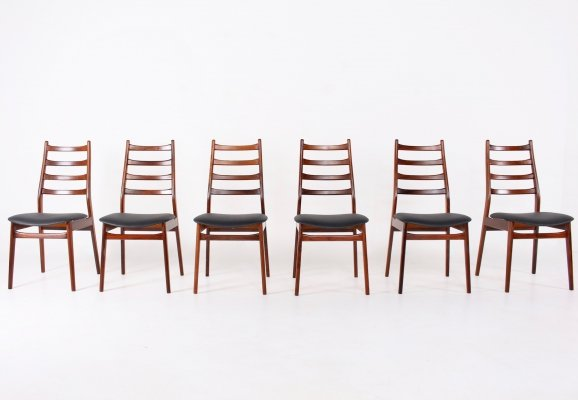 Set of 6 Scandinavian style rosewood chairs, 1970s
