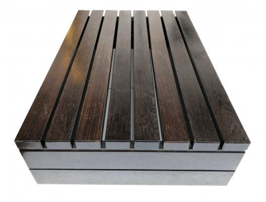 Dutch design brutalist bench or coffee table in solid wenge, 1970s