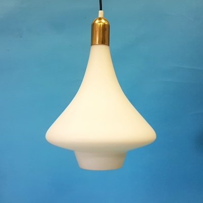 Bell shaped opaline glass & brass pendant lamp, 1960s
