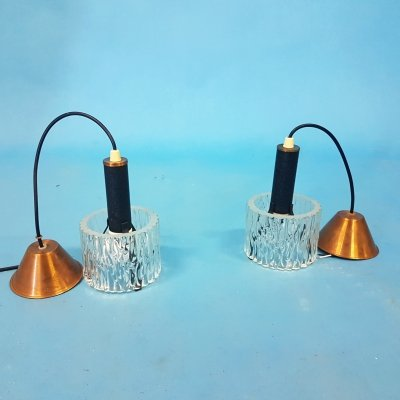 Set of two mid century glass & metal pendant lamps, Netherlands 1950s