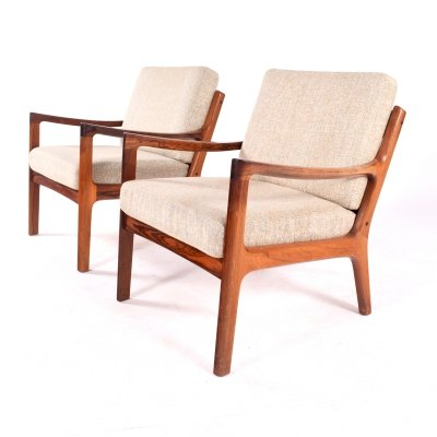Pair of Midcentury Rosewood Ole Wanscher Easy Chairs, 1960s