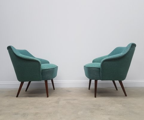 Pair of Mid Century Danish Cocktail Club Chairs in Green Tweed, 1960