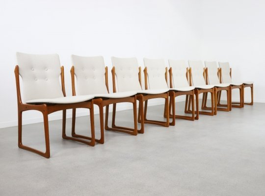 Set of 8 sculptural Danish dining chairs in teak by Vamdrup Stolefabrik, 1960s