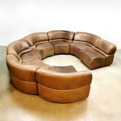 Unique vintage DS-28 leather modular De Sede sofa