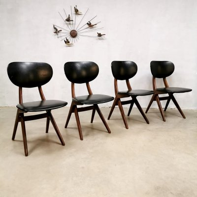 Set of 4 vintage design dining chairs by Louis van Teeffelen