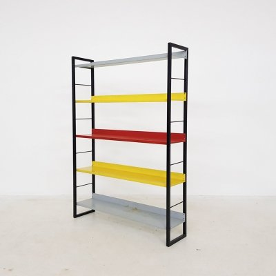 A. D. Dekker for Tomado free standing metal book shelves, The Netherlands 1950's