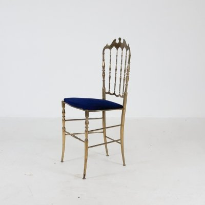 Brass dining chair by Giuseppe Gaetano Descalzi for Chiavari, Italy 1950's