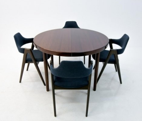 Dining set of four Kai Kristiansen Compass Chairs & Rosewood Table