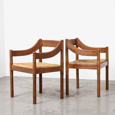 Pair of Vico Magistretti 'Carimate' Arm Chairs for Cassina, 1960