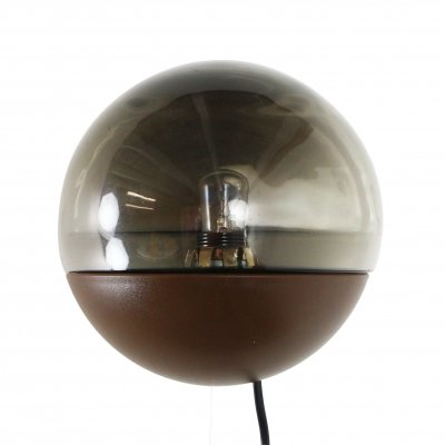 Retro wall light in brown plastic & smoked glass, 1970s