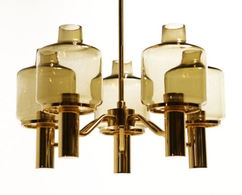 Mid-century brass & glass chandelier by Hans-Agne Jakobsson, 1960s