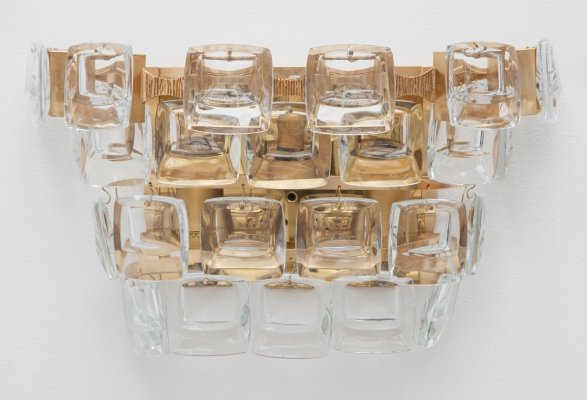 Palwa Gilt Brass & Crystal Sconces by Palme & Walter, 1950s