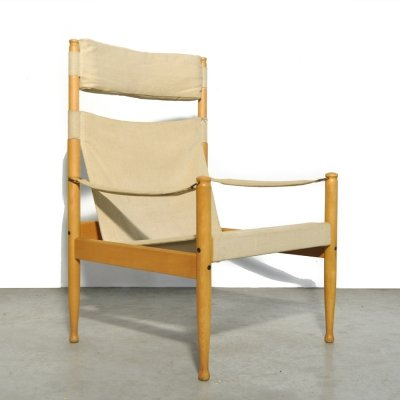 Vintage Danish safari easy chair by Eric Wørts for Niels Eilersen, 1960s