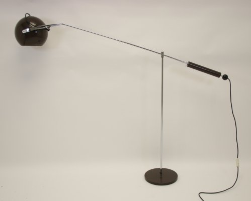 Brown rod floor ball lamp by Gepo Amsterdam, 1960s