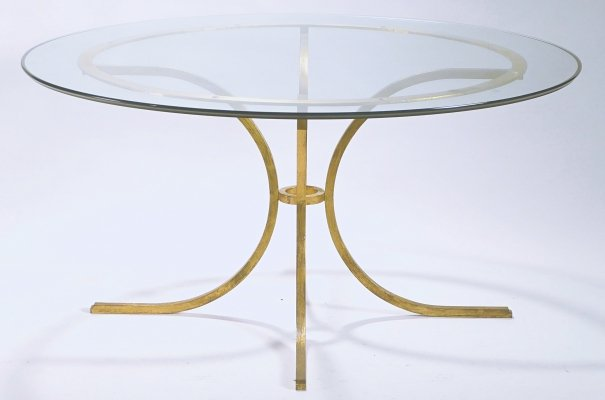 Rare Mid-century Roger Thibier gilt wrought iron gold leaf glass dining table, 1960