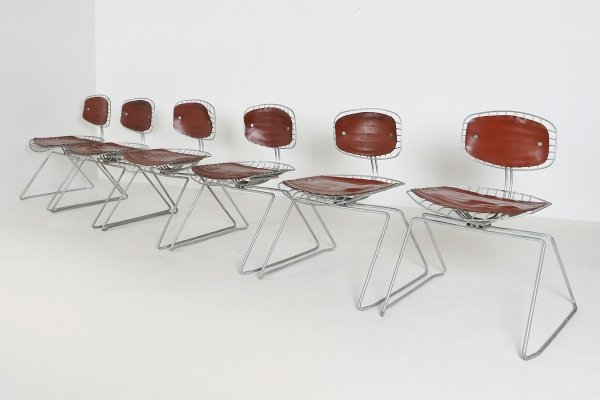 Set of 6 Beaubourg dining chairs by Michel Cadestin & Georges Laurent, 1970s
