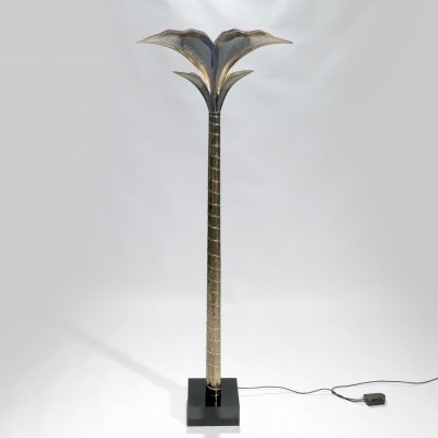 French hollywood regency brass nickel floor lamp by Henri Fernandez, 1970s