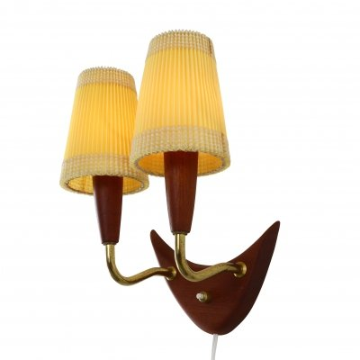Organic wooden wall light with two shades, 1960s
